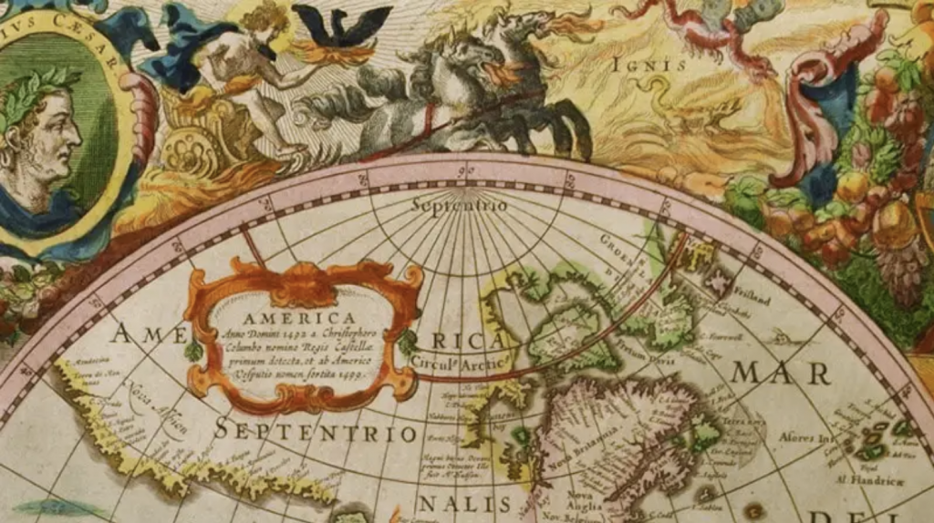 """Detail of Hendrik Hondius' """"Nova Totivs Terrarvm Orbis Geographica AC Hydrographica Tabvla, in Atlas Novus, Volume 1."""" Amsterdam, 1638. Hand-colored engraving on paper. From the University of Delaware's Special Collections."""